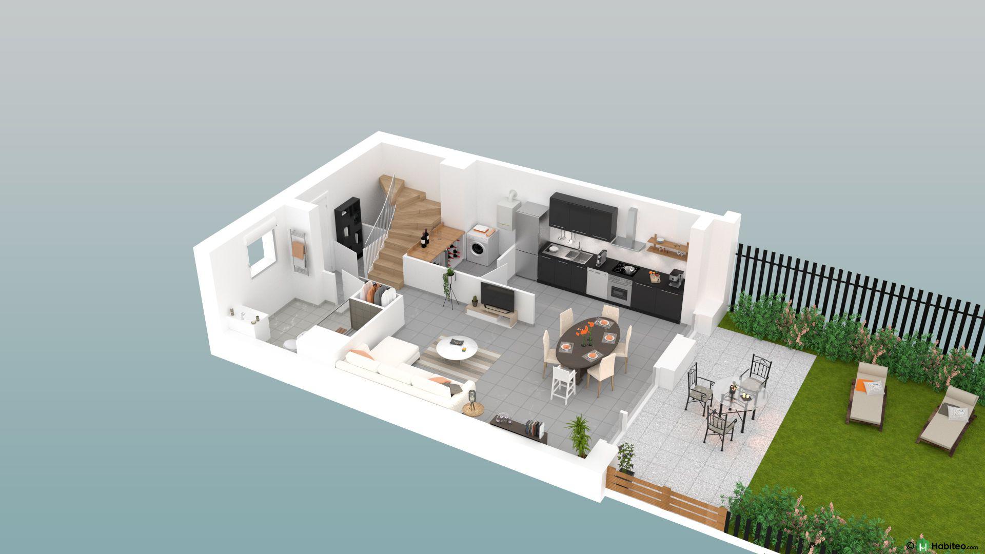 plan 3d du rez de chausse dune maison du programme virtuos situ
