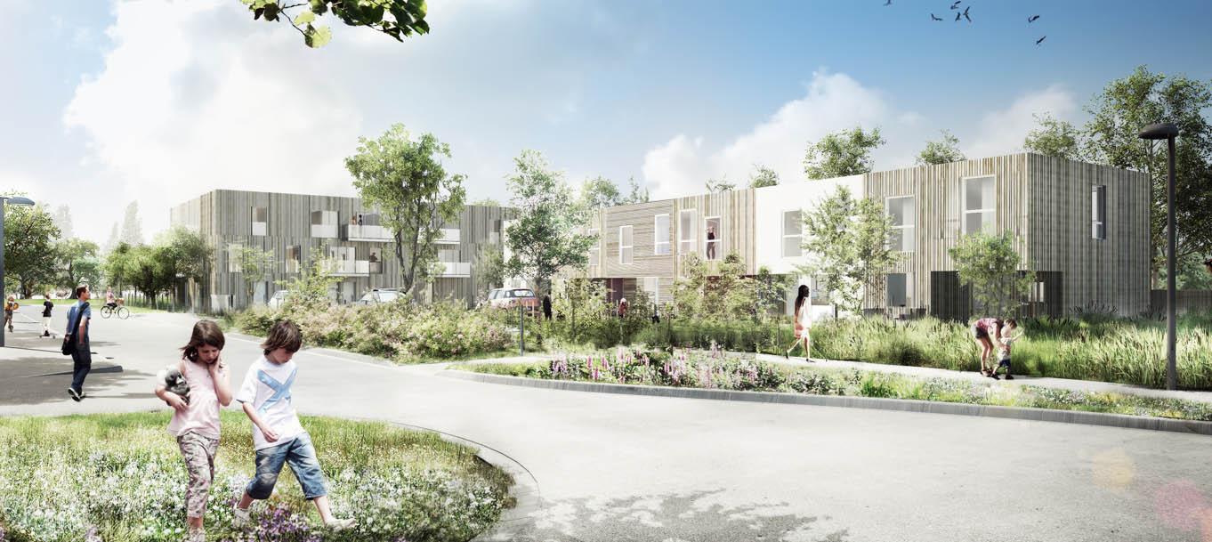 Perspective extérieure du programme Le Jardin des Iris situé à Deûlémont
