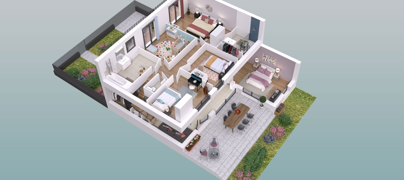 Perspective extérieure du programme Villas du Plessis situé à La Riche