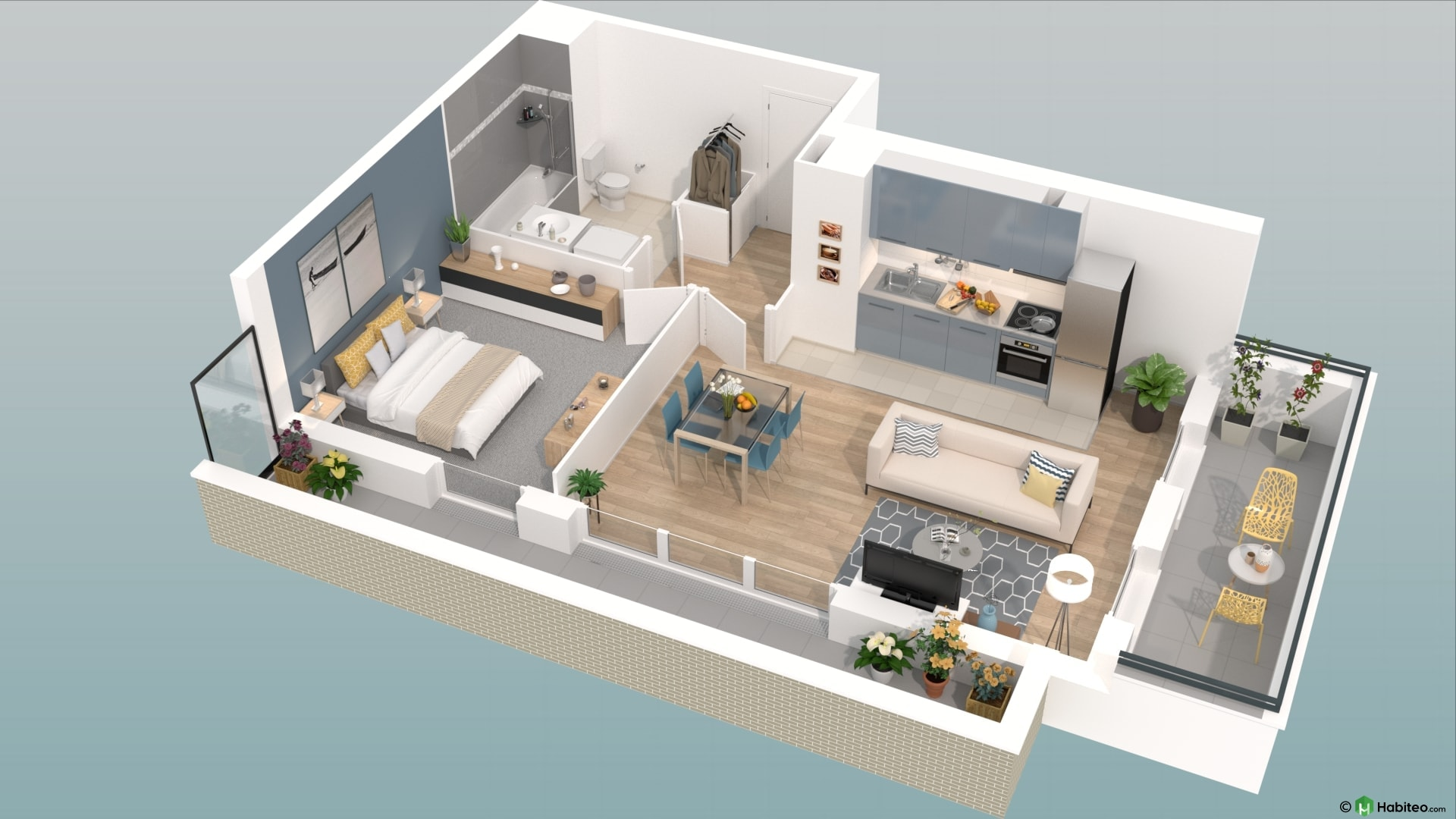 plan appartement moderne 3d